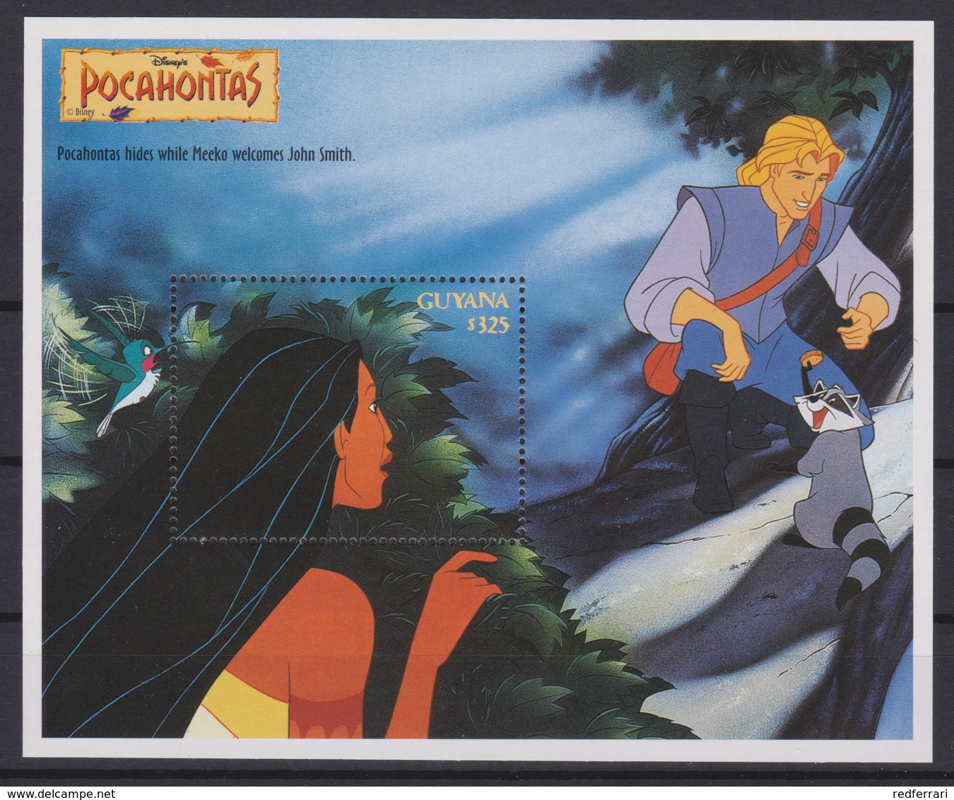2324  WALT DISNEY - GUYANA ( POCAHONTAS) Presentation Of The Cartoon Characters - Meeko Welcomes John Smith . - Disney