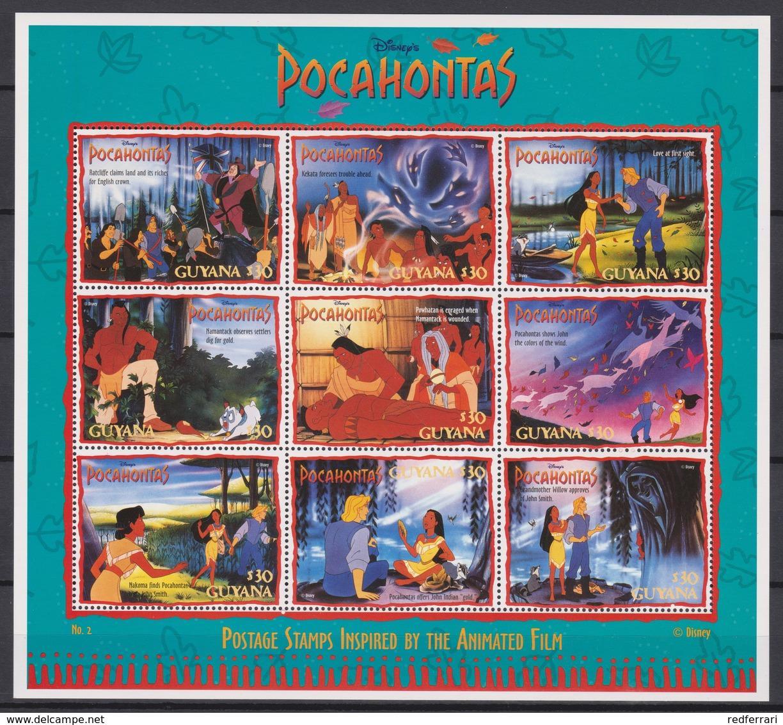 2326  WALT DISNEY - GUYANA ( POCAHONTAS) Presentation Of The Cartoon Characters -John Smith Rowed Away In A Dinghy . - Disney