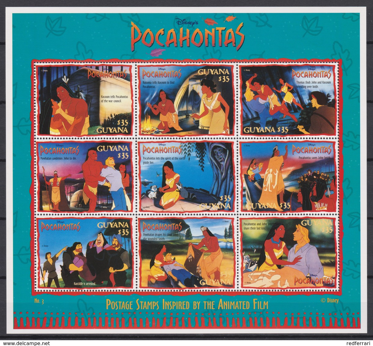2327  WALT DISNEY - GUYANA ( POCAHONTAS) Presentation Of The Cartoon Characters -Grandmother Willow Advises Pocahontas - Disney