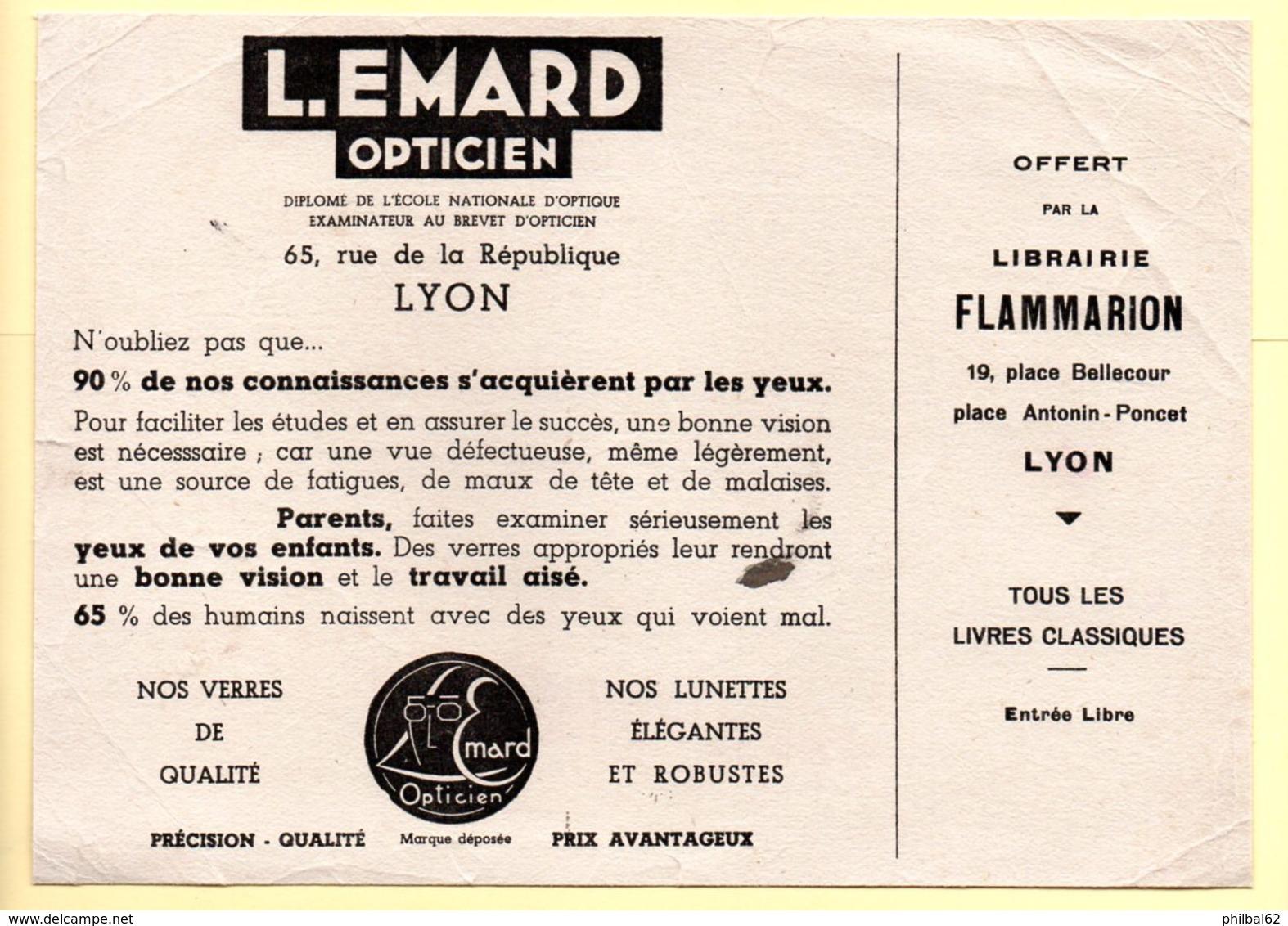 Buvard Opticien L.Emard à Lyon. Offert Par La Librairie Flammarion. - Buvards, Protège-cahiers Illustrés