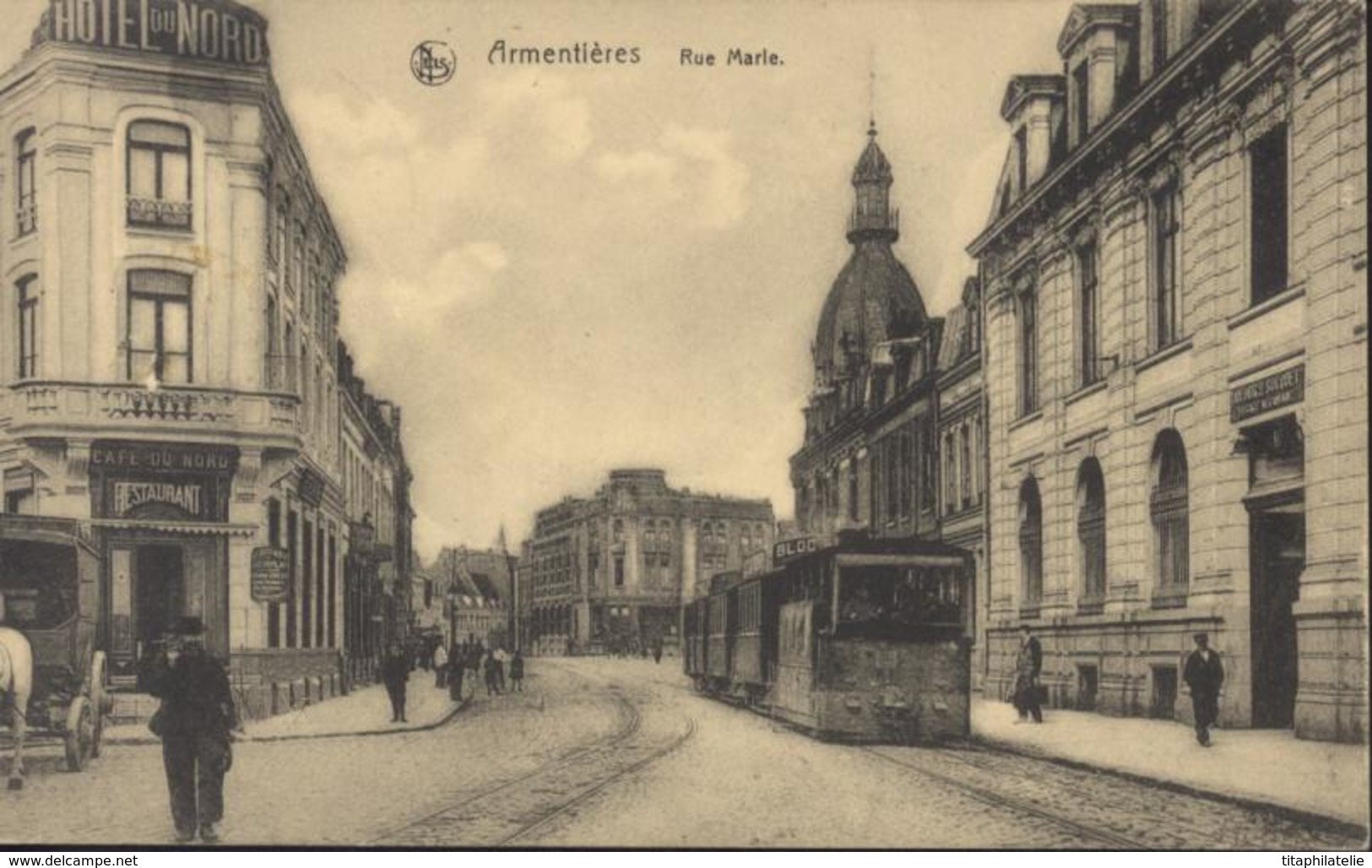 CPA Armentières Rue Marie Tramway KD Feldpost 7 8 1 Occupation Allemande Guerre 14 18 Phono Photo Tournai - Armentieres