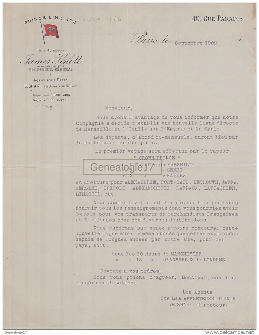 75 20 613 PARIS SEINE 1902 Flotte Armateur PRINCE LINE LTD Vapeurs JAMES KNOTT Agent E. SHAKI - France