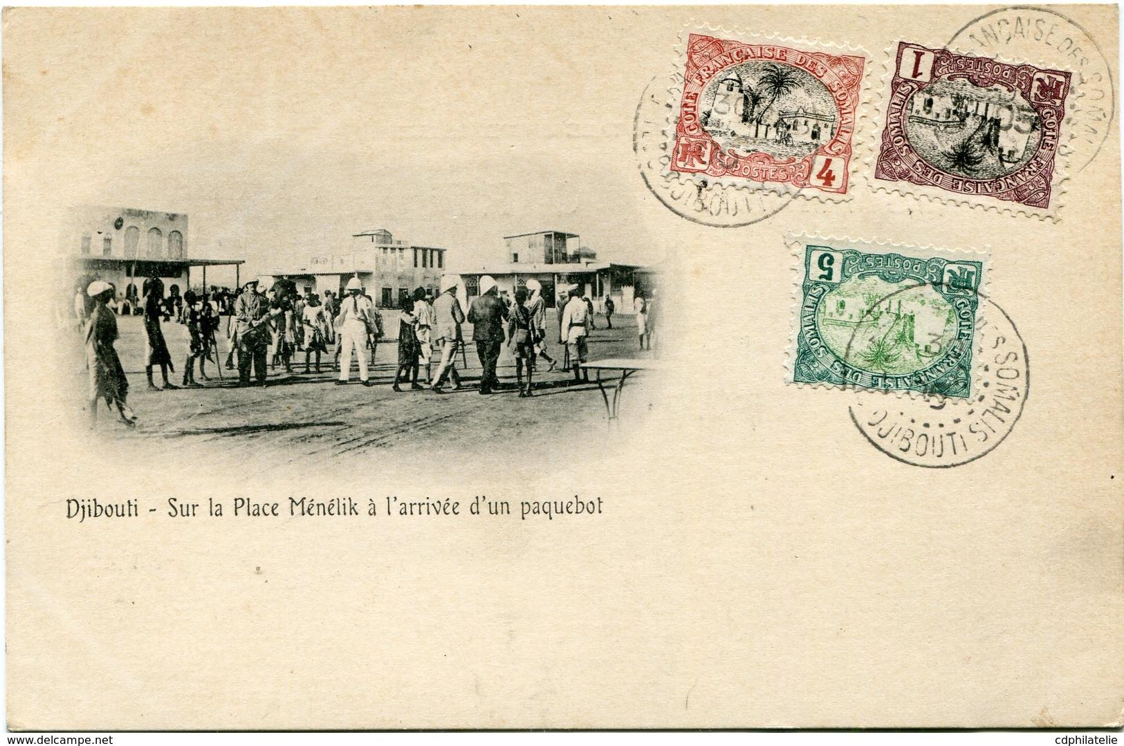 COTE FRANCAISE DES SOMALIS CARTE POSTALE  DE DJIBOUTI (IMPRIME) -SUR LA PLACE MENELIK A....... DEPART DJIBOUTI 30 DEC 05 - Lettres & Documents