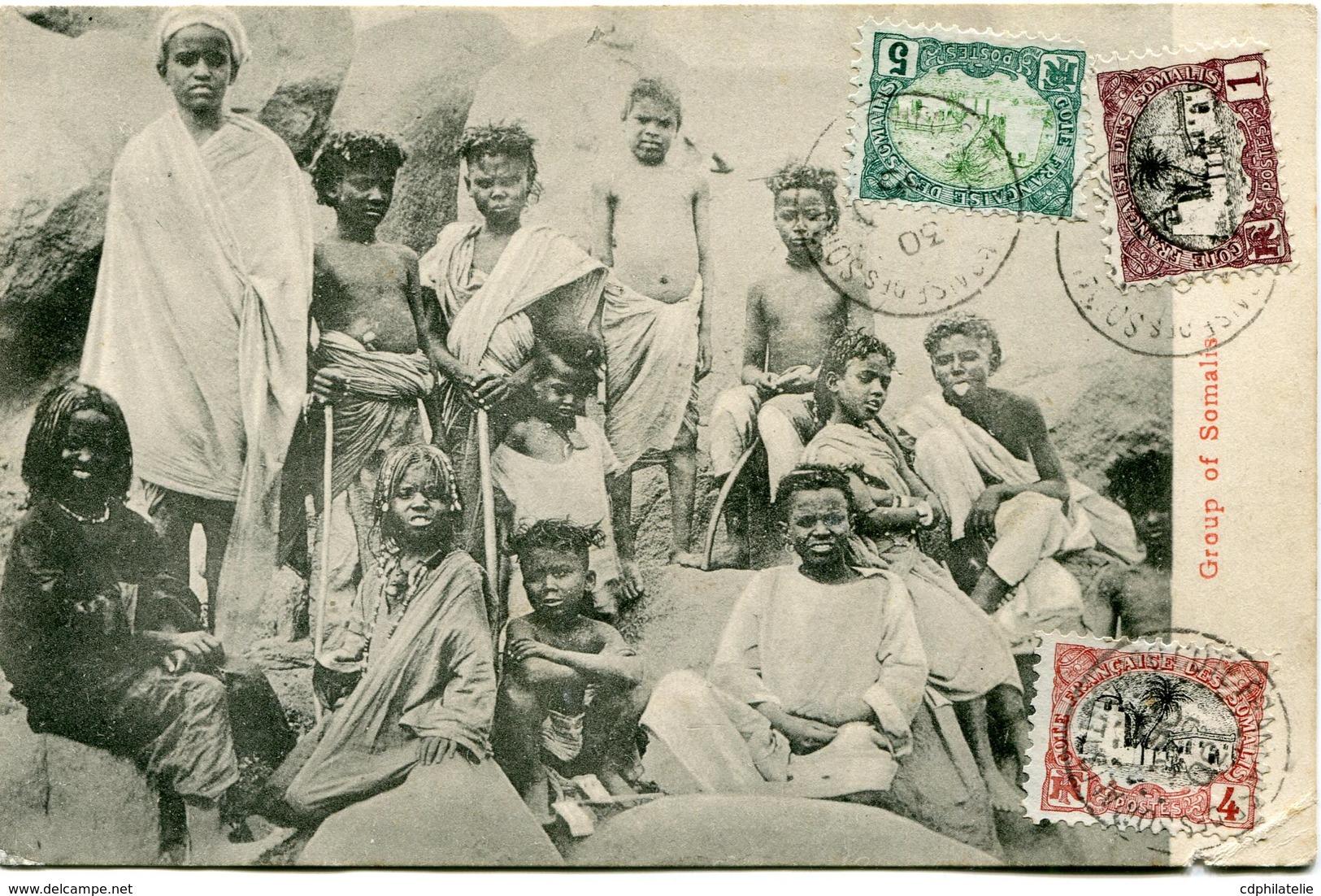COTE FRANCAISE DES SOMALIS CARTE POSTALE -GROUP OF SOMALIS DEPART DJIBOUTI 30 DEC 05 POUR DJIBOUTI - Côte Française Des Somalis (1894-1967)