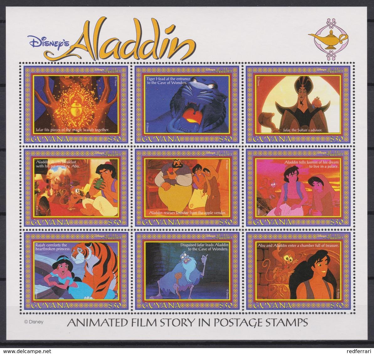 2332  WALT DISNEY - GUYANA ( ALADDIN ) The Cartoon Characters . - Disney