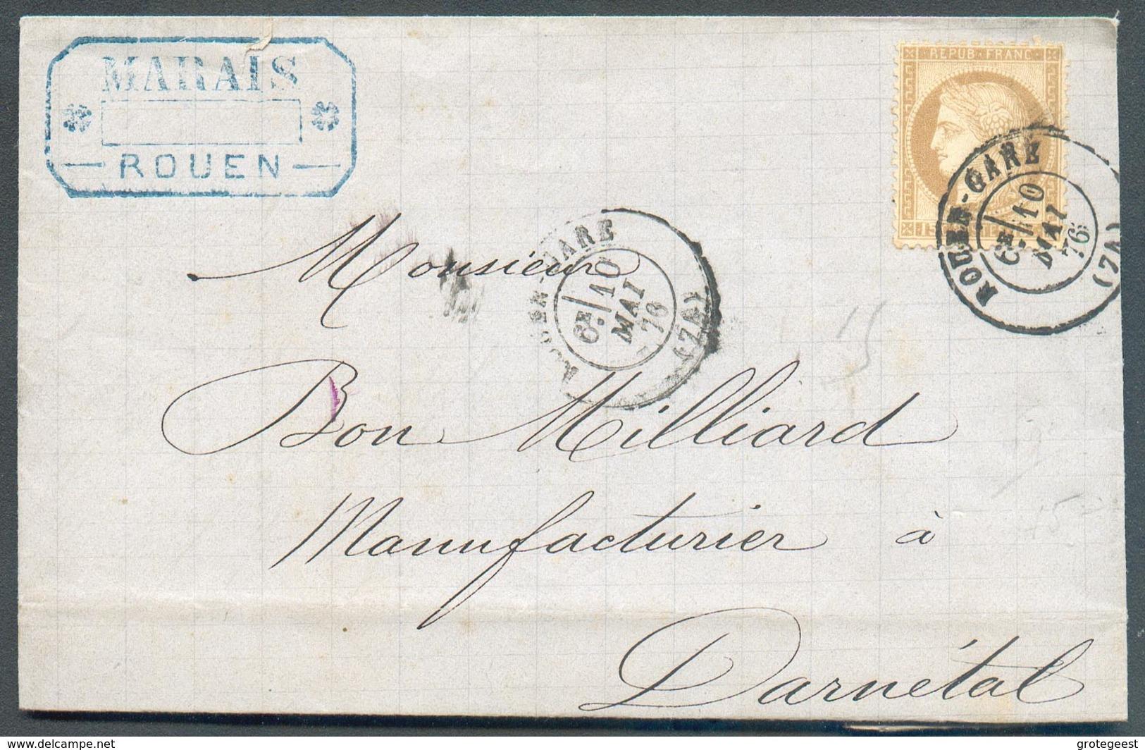 15 Cent. CERES  Oblitération ROUEN Sur Lettre Du 10 Mai 1876 Vers Darnétal - 12908 - 1871-1875 Ceres