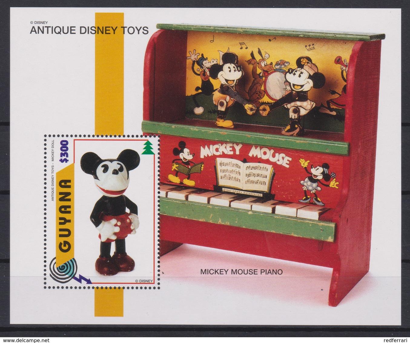 2337  WALT DISNEY - GUYANA ( Disney Anticque Toys ) Pluto Wind-Up / Mickey Mouse Piano . - Disney