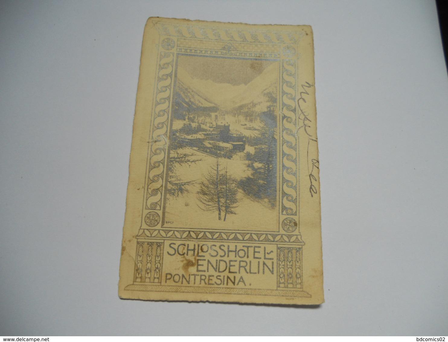 SUISSE CARTE ANCIENNE EN NOIR ET BLANC  SCHLOSSHOTEL ENDERLIN PONTRESINA - BL Basle-Country