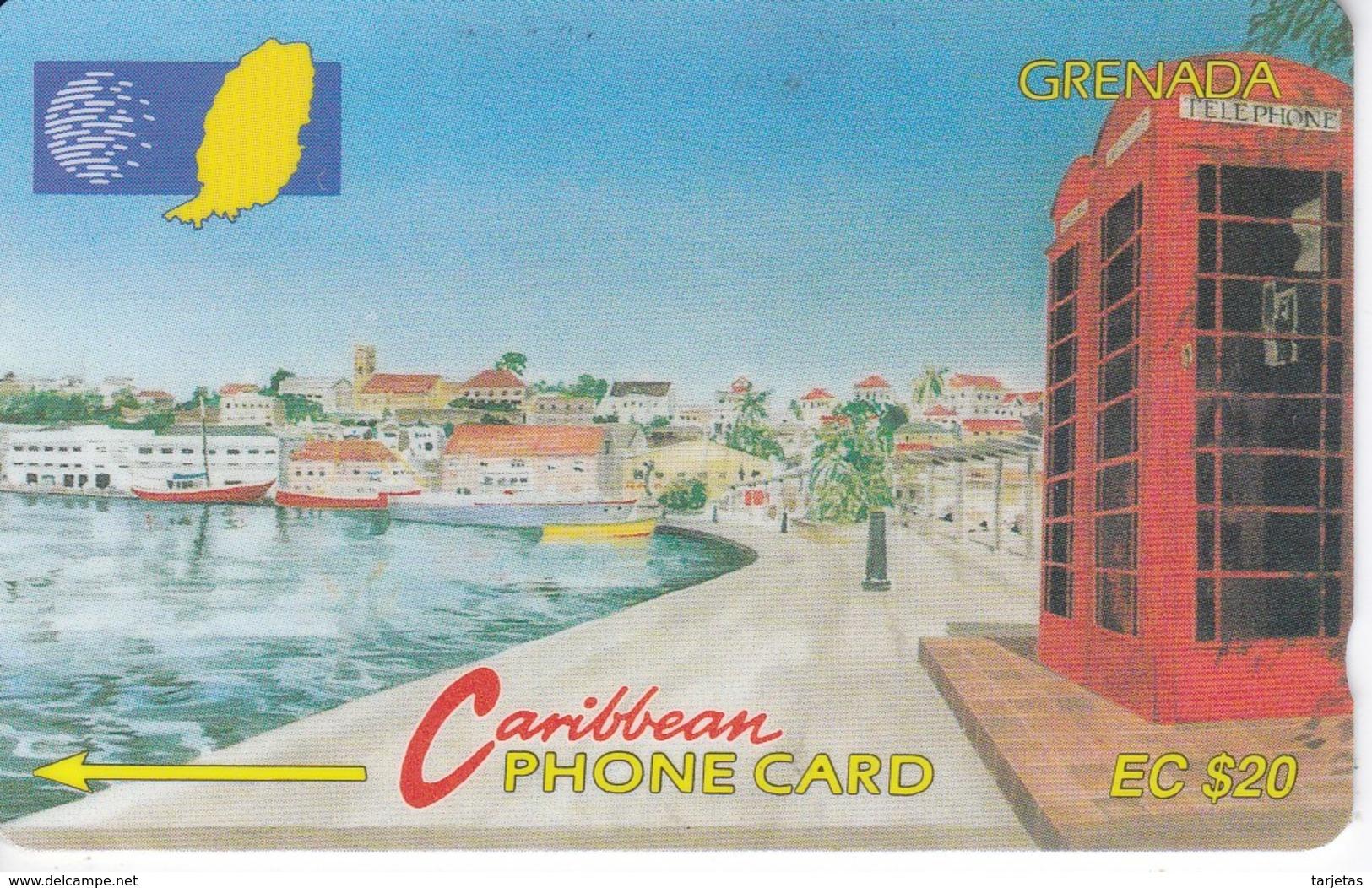 TARJETA DE GRENADA DE PAISAJE COSTERO Y CABINA 105CGRA - Grenada