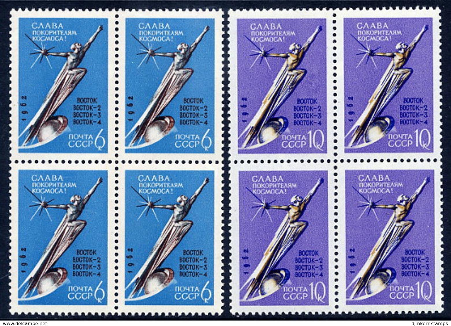 SOVIET UNION 1962 Space Exploration Blocks Of 4  MNH / **  Michel 2670-71A - 1923-1991 USSR