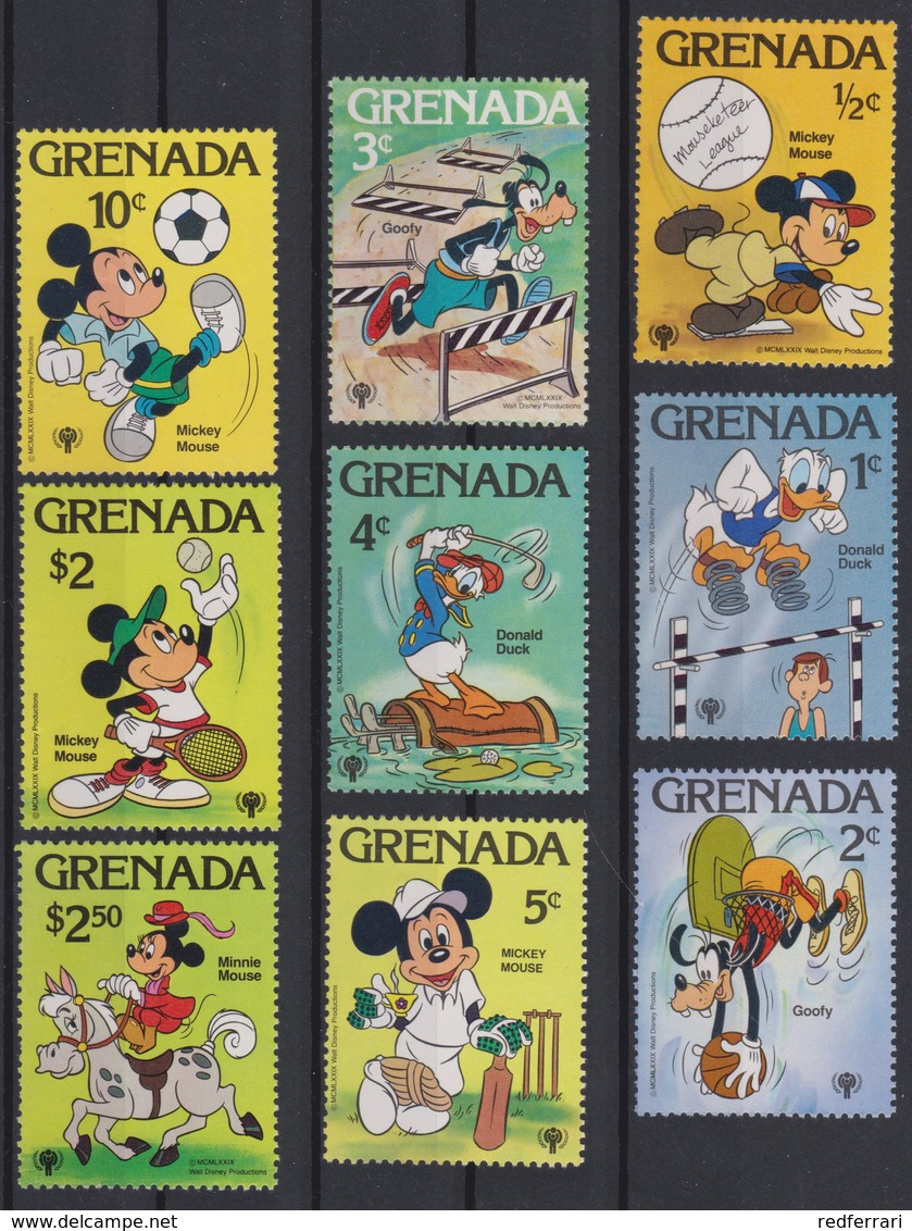 2216  WALT DISNEY - GRENADA  ( International Youth Year ) Characteres De Walt Disney,Emblem Of The Year Of The Child . - Disney