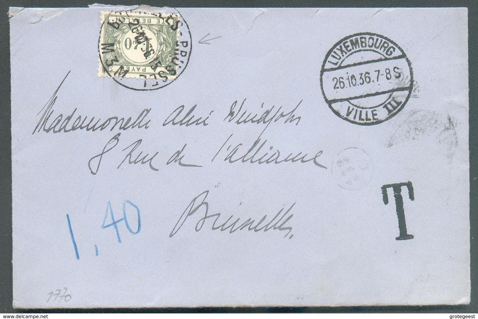 Lettre Envoyée Du LUXEMBOURG E 26-10-1936 Vers Schaerbeek Et Taxée à 1Fr.40 - 12923 - Postage Due
