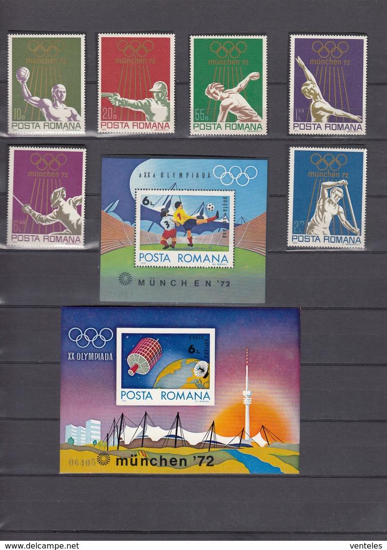 Romania 15.07.1972 Mi # 3035-40 Bl 97-98 Munich Summer Olympics (II) MNH OG - Verano 1972: Munich