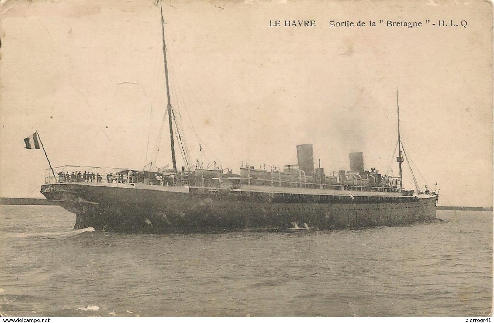 CPA-1910-PAQUEBOT-Cie GENERALE TRANSATLANIQUE-LA BRETAGNE-1893/1923-BE- - Paquebots