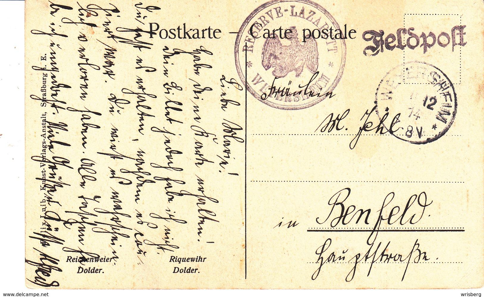 Feldpostkarte Avec Cachet RESERVE - LAZARETT * WEYERSHEIM * + TàD WEYERSHEIM DU 1.12.14 Adressée à Benfeld - Postmark Collection (Covers)