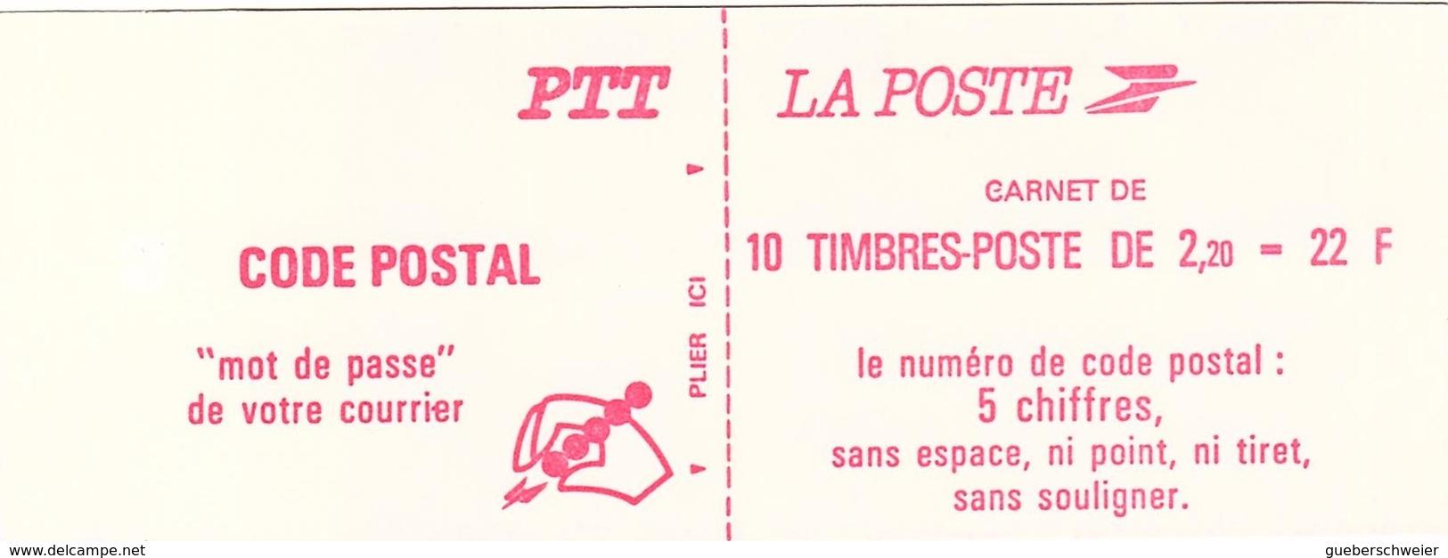 C 63 - FRANCE Carnet N° 2427 C1b Numéro D'ordre 2 Chiffres Et Numéro Sur La Bordure Des Timbres - Usage Courant