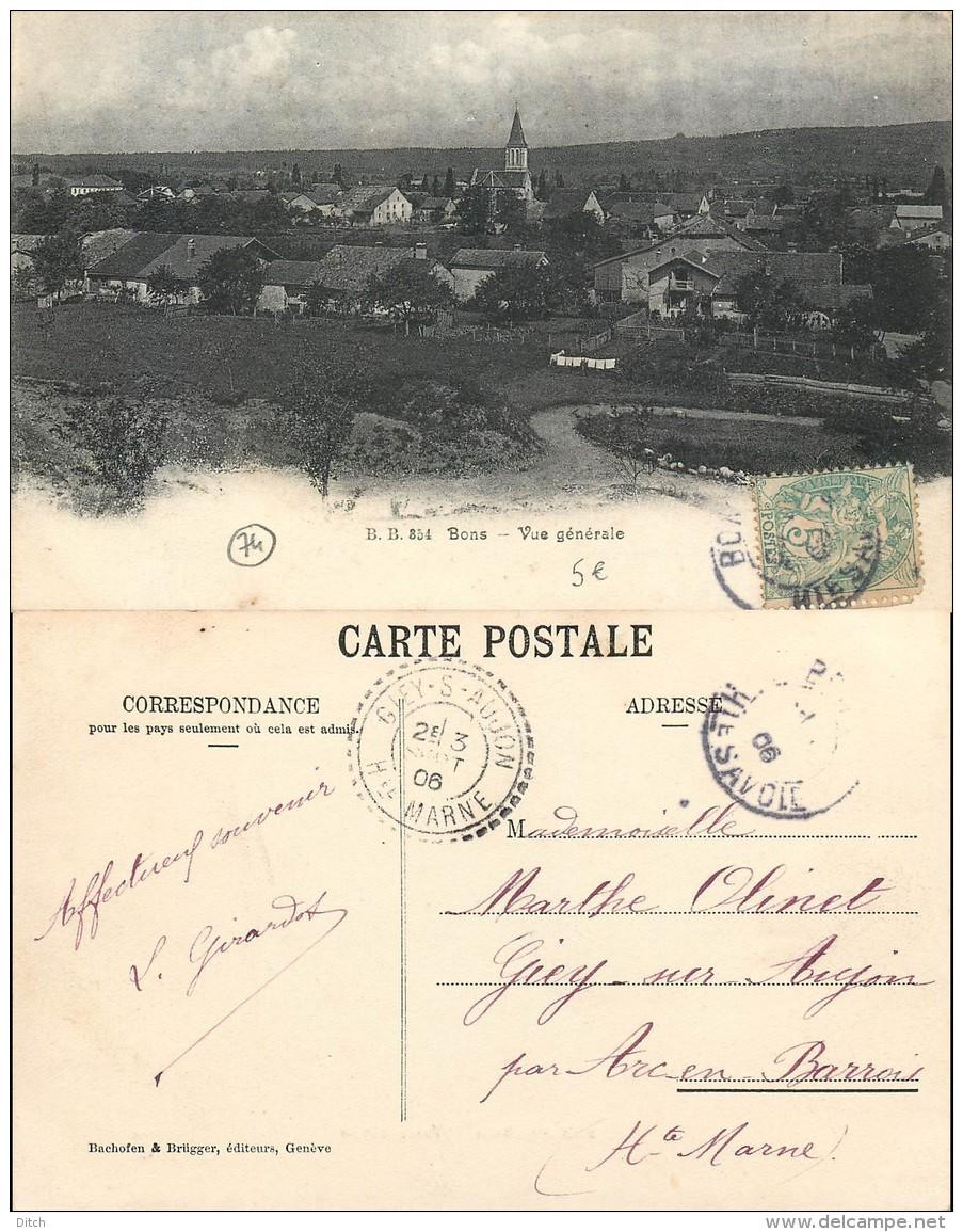D- [510477] Carte-France  - (74) Haute-Savoie, Bons, Vue Générale - Otros Municipios