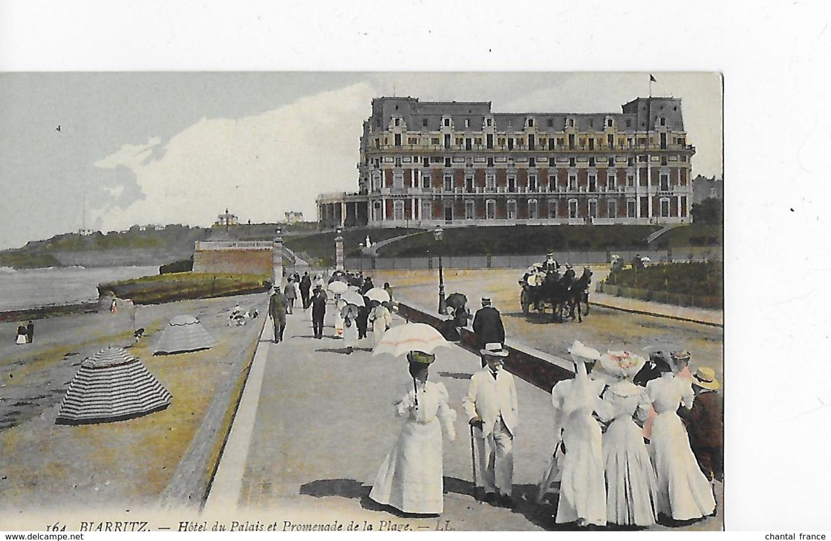 3 CP Dont 2 Cpa : Biarritz : Hôtel Du Palais, Vues Diversespromenade Avec Animation, Calèche, Autos, Piscine - Biarritz