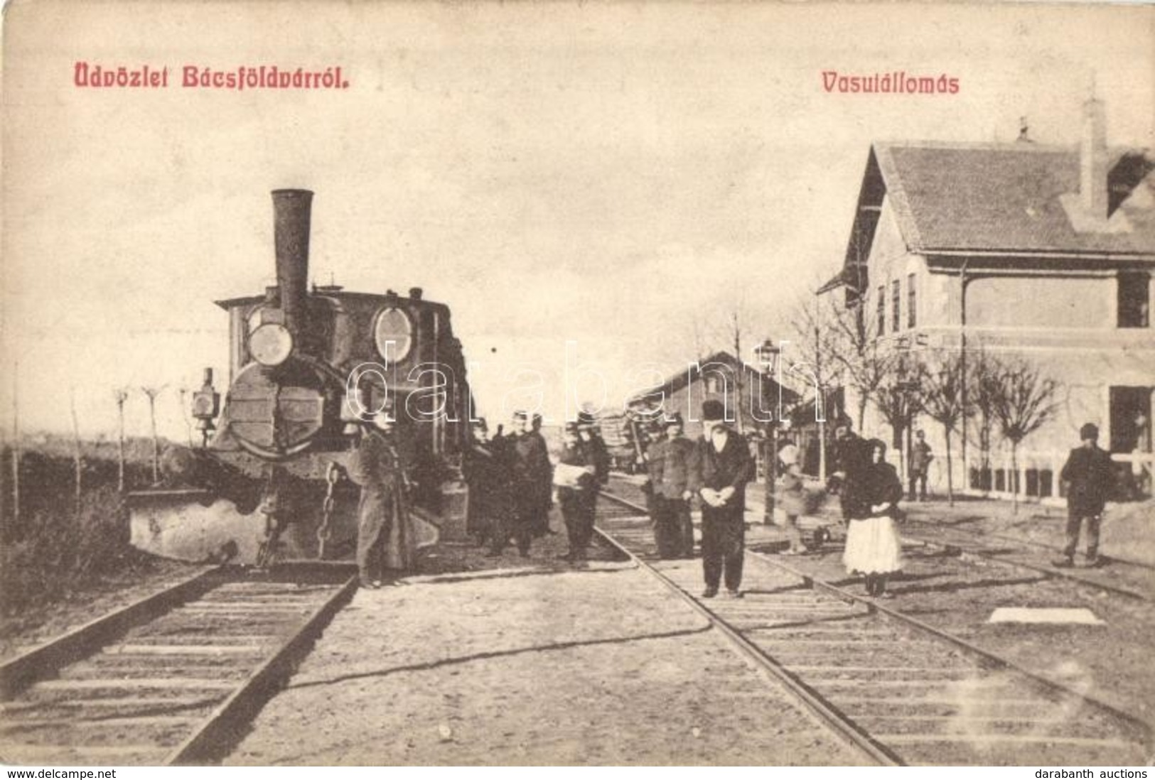 ** T2/T3 Bácsföldvár, Backo Gradiste; Vasútállomás, G?zmozdony, Vasutasok / Bahnhof / Railway Station, Locomotive, Railw - Postcards
