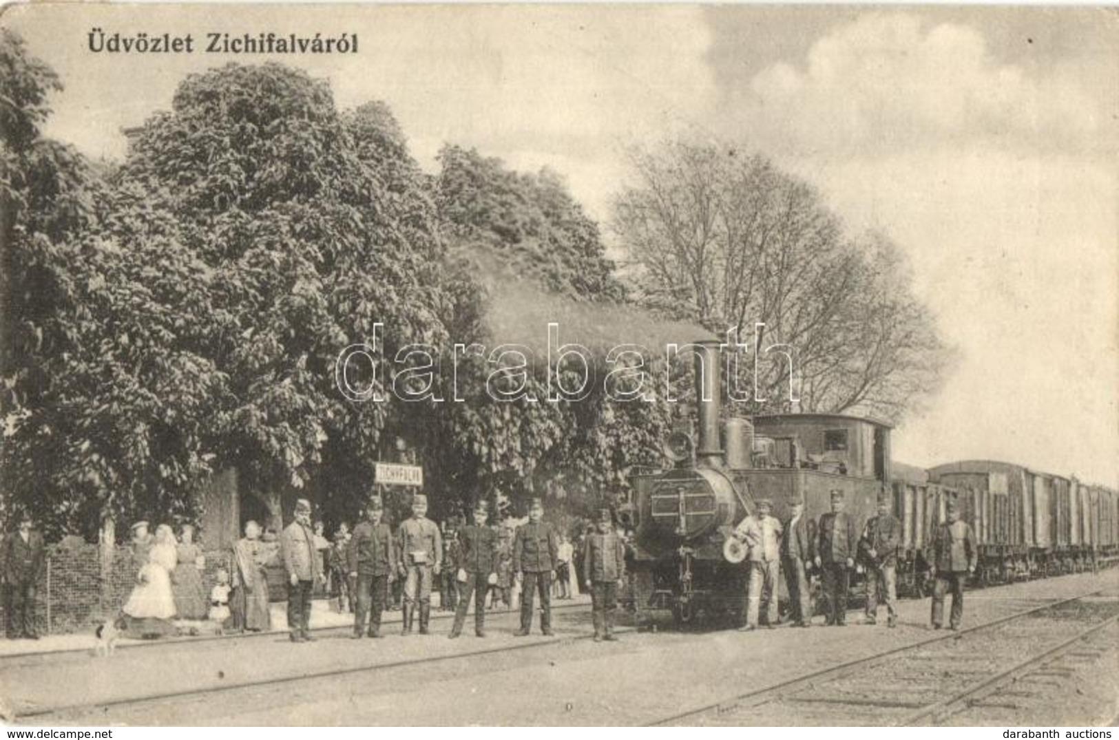 T2/T3 Zichyfalva, Zichydorf, Plandiste; Vasútállomás, Vasutasok, G?zmozdony. Kühn M. Kiadása / Bahnhof / Railway Station - Unclassified