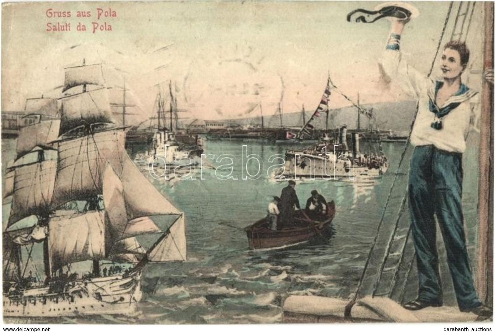 * T2/T3 Pola, Kiköt?, Hadihajók, Osztrák-magyar Matróz, Montázs / K.u.K. Kriegsmarine, Port, Battleships, Mariner, Monta - Cartes Postales