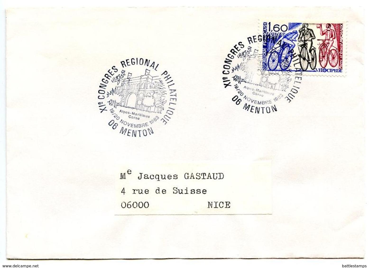 France 1983 Philatelic Cover Menton, XI Regional Philatelic Congress - Commemorative Postmarks