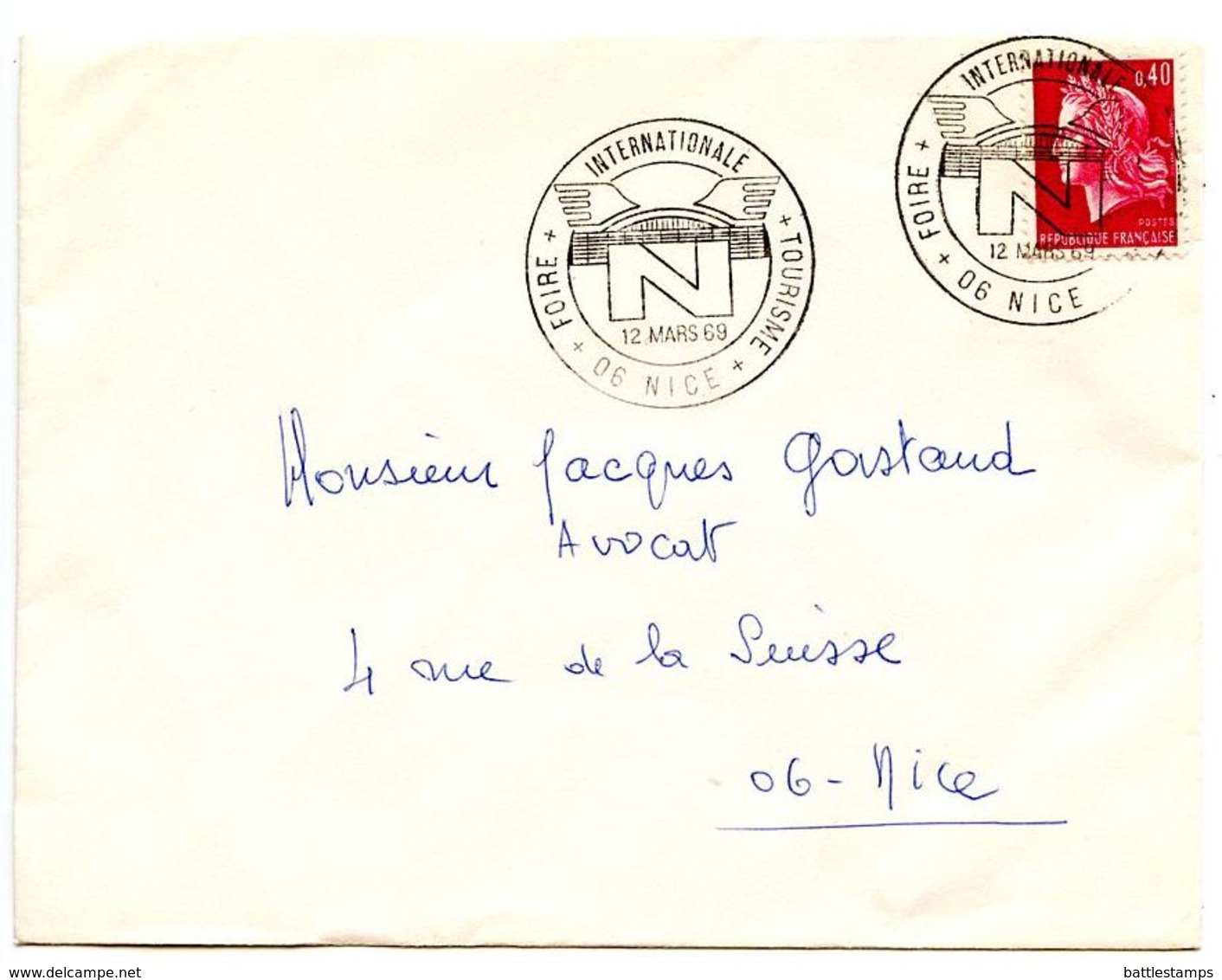 France 1969 Philatelic Cover Nice, International Tourism Fair - Postmark Collection (Covers)