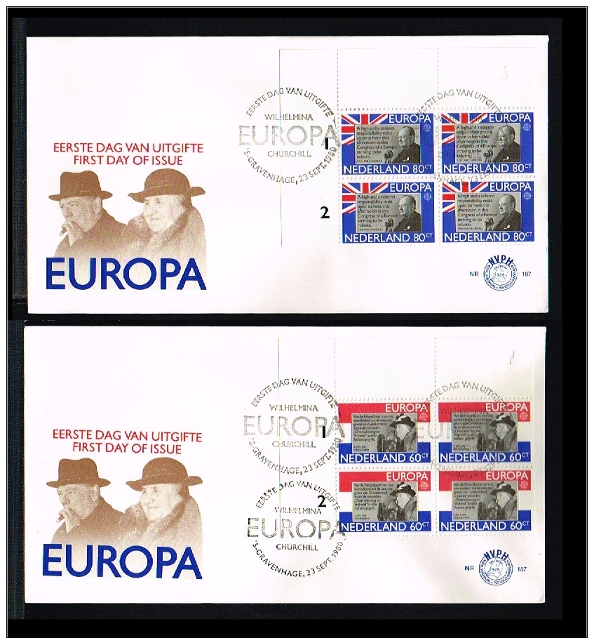 1980 - Netherlands FDC E187 Special - Famous People - Queen Wilhelmina And Churchil In Blocks Of 4 [D14_420] - 1980-... (Beatrix)