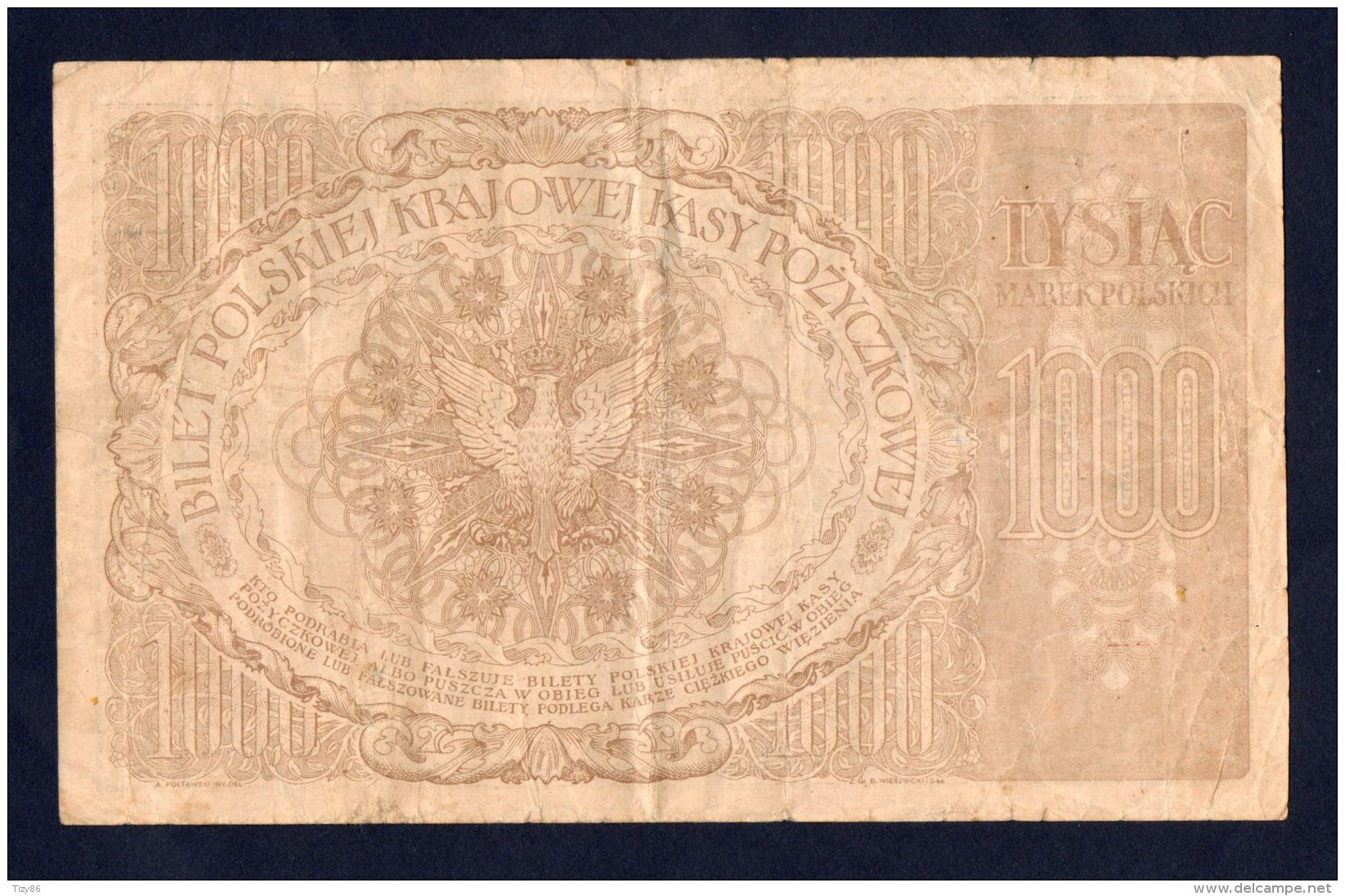 Banconota Polonia 1000 Marek (circolata) 17/5/1919 - Pologne