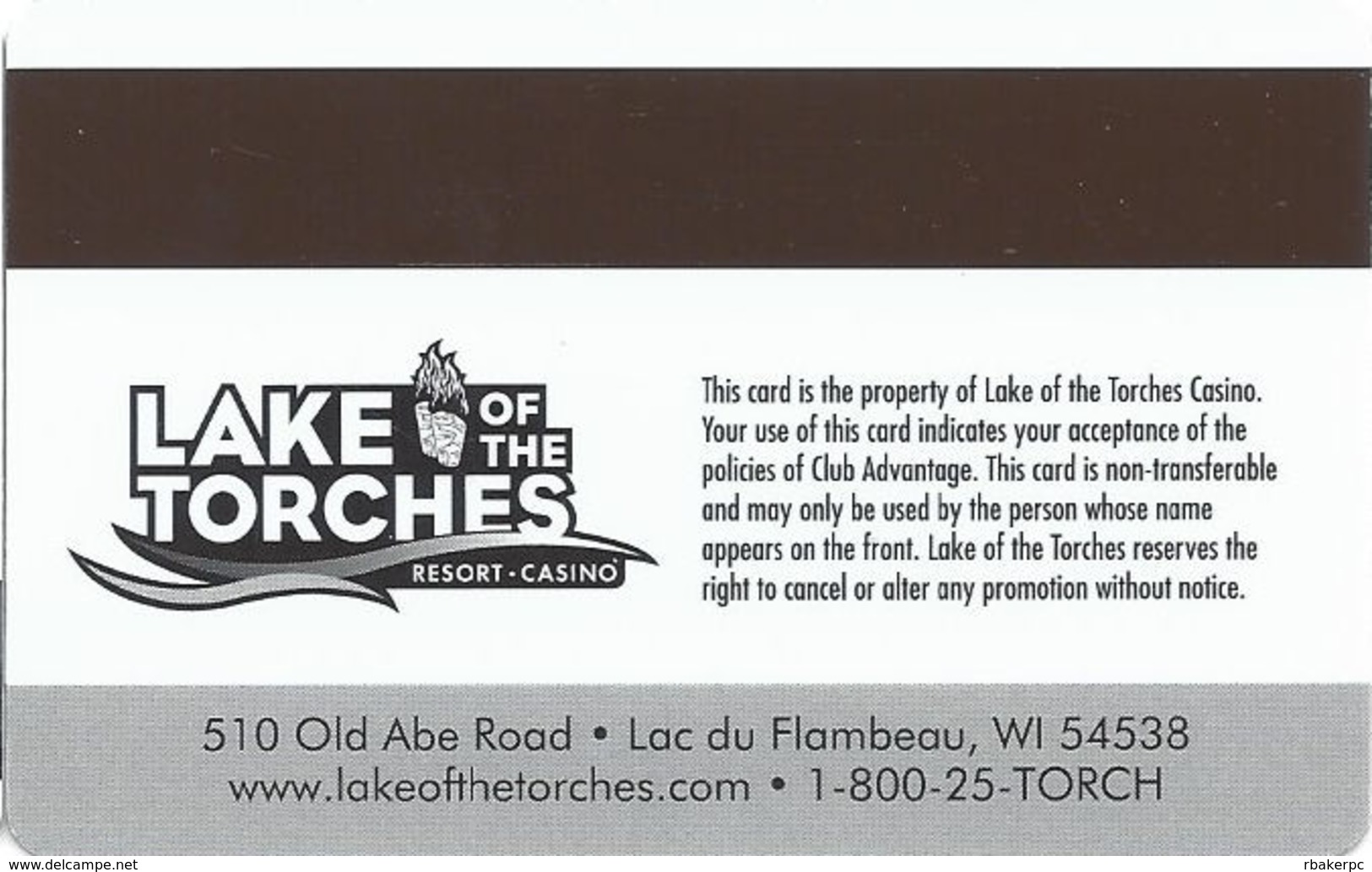 Lake Of The Torches Casino - Lac Du Flambeau, WI - BLANK Elite Slot Card - Casino Cards