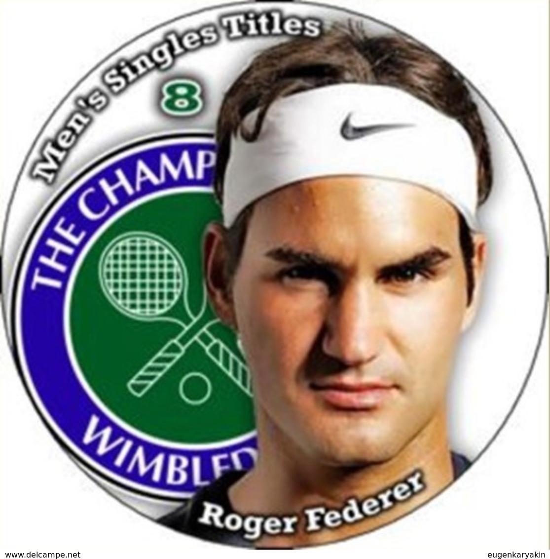 Pin Roger Federer Wimbledon 8 Men's Singles Titles - Tennis