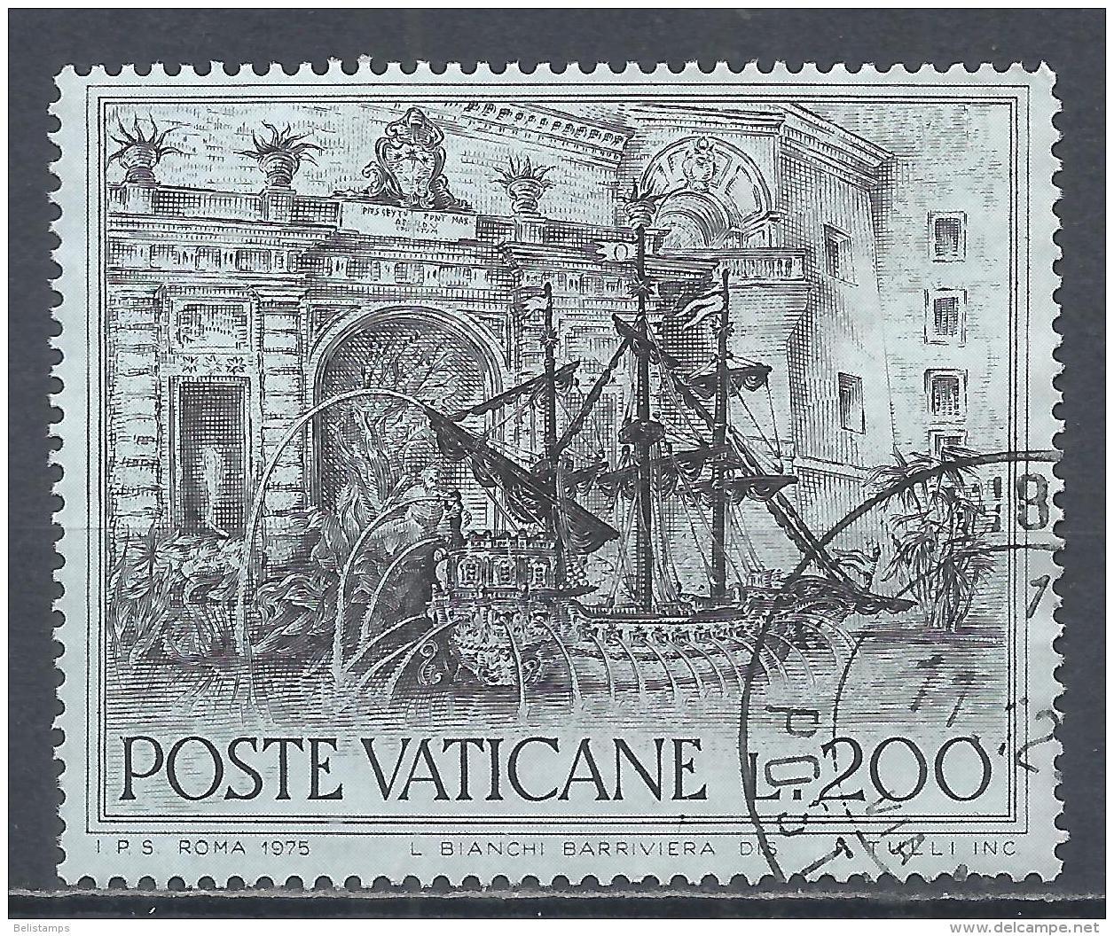 Vatican City 1975. Scott #578 (U) Fountain Of Rome, Galleon * - Gebruikt