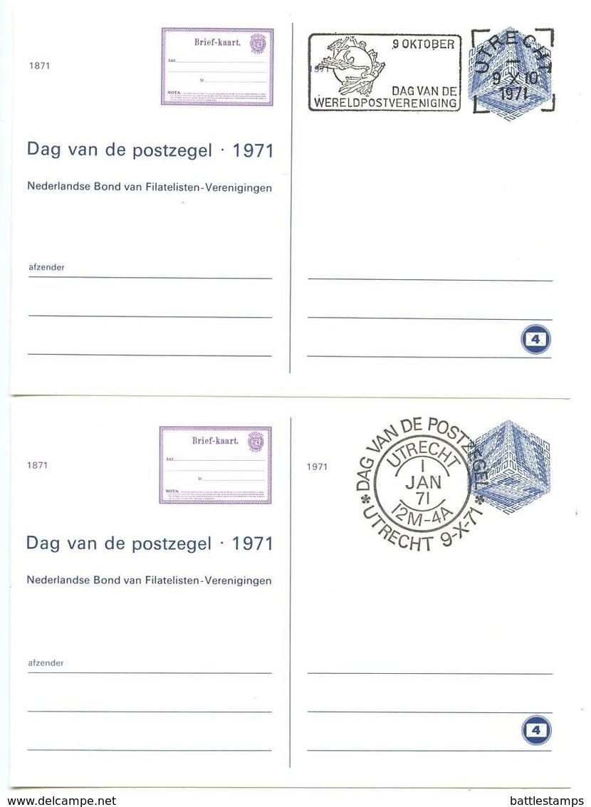 Netherlands 1971 2 Postal Cards Stamp Day & Universal Postal Union Day - Postal Stationery