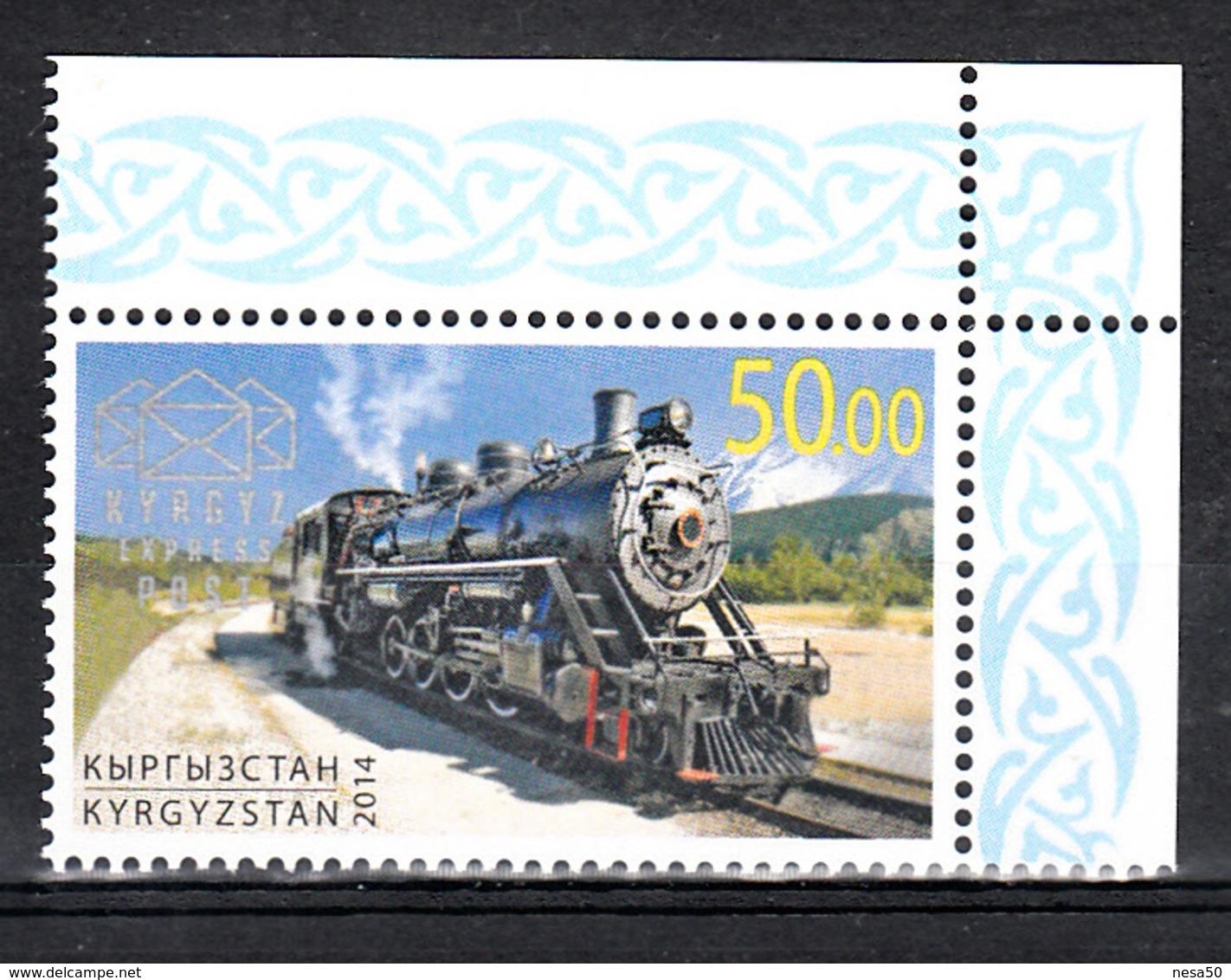 Trein, Trains, Railway, Locomotive: Kyrgyzstan 2014 Old Loc, Zegel Uit Blok, Postfris - Trains