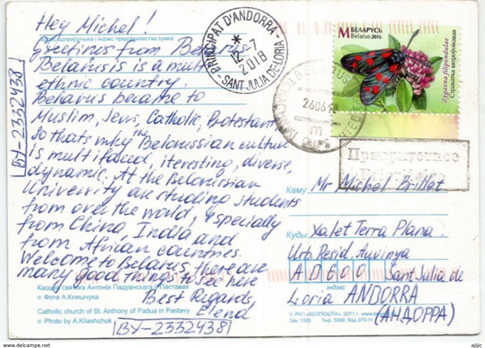 Eglise Catholique De St Antoine De Padoue à Pastavy (Bielorussie), Carte Postale Adressée Andorra - Eglises Et Couvents