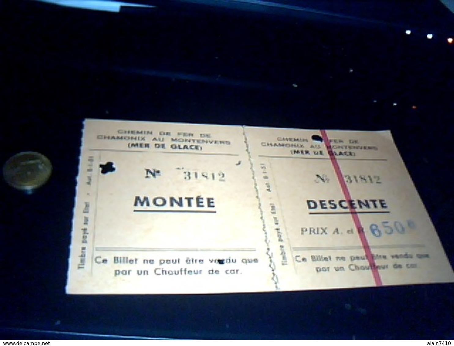 Ticket De Transport Montee  Descente  Chemin De   Fer Chamonix  A Montenvers Mer  De Glace 1955 - Chemins De Fer