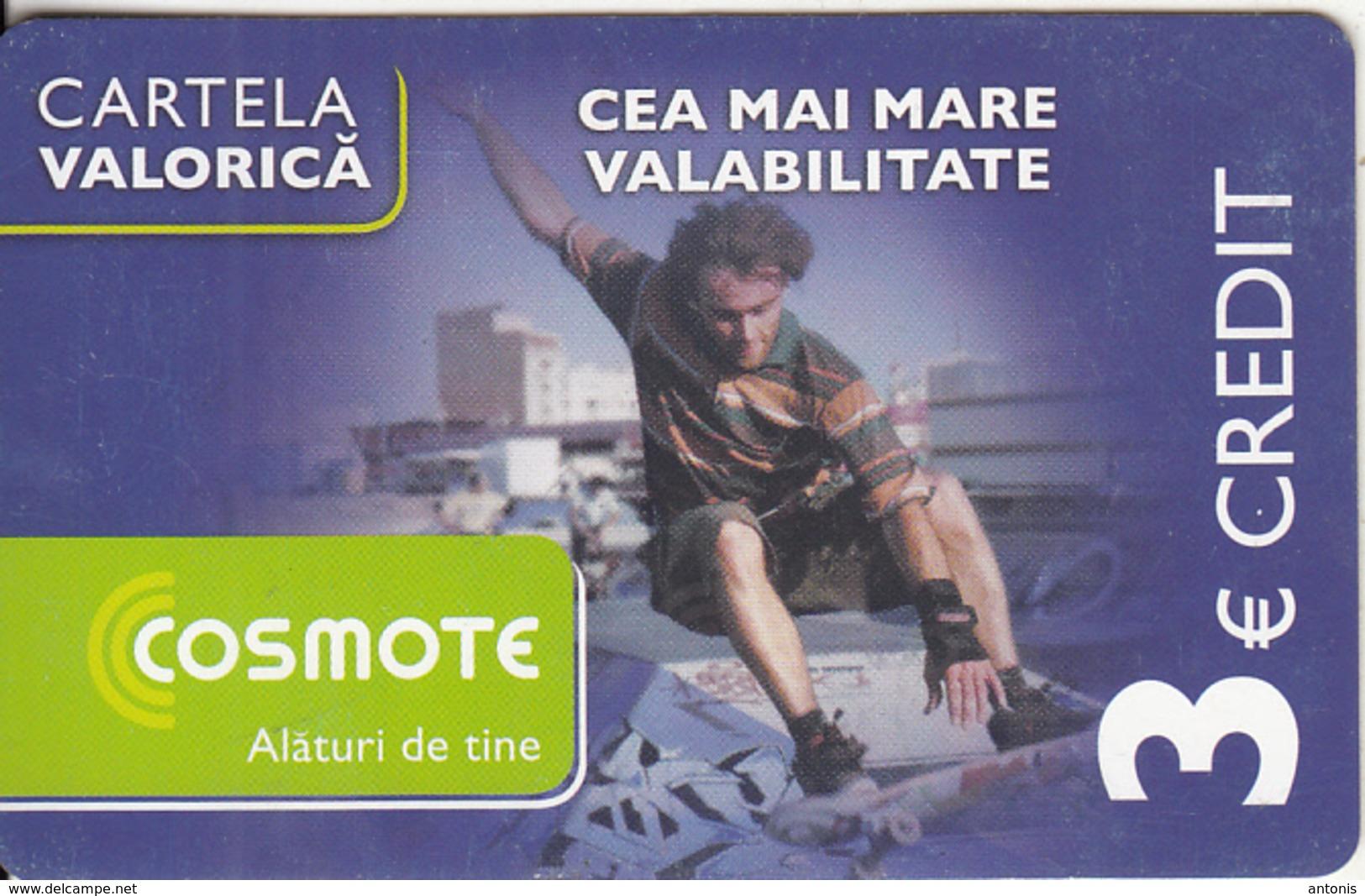 ROMANIA - Scateboard, Cosmote Prepaid Card 3 Euro, Exp.date 26/18/11, Used - Romania