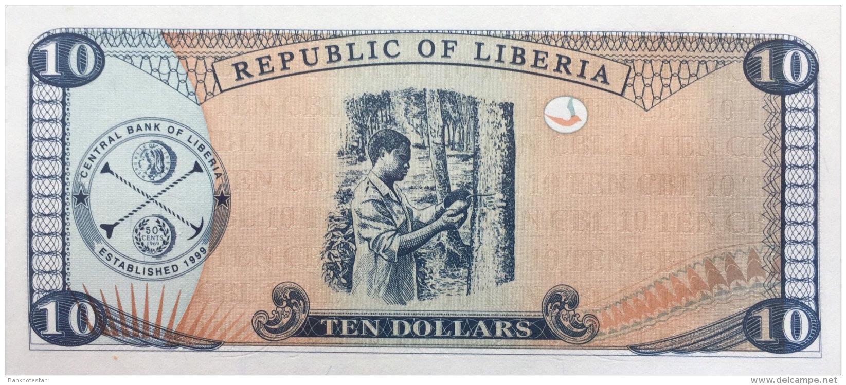 Liberia 10 Dollars, P-22 (1999) UNC - Liberia
