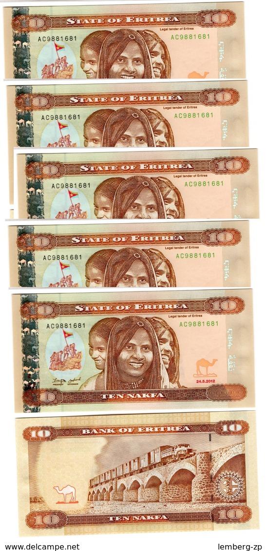 Eritrea - 5 Pcs X 10 Nakfa 2012 UNC Lemberg-Zp - Erythrée