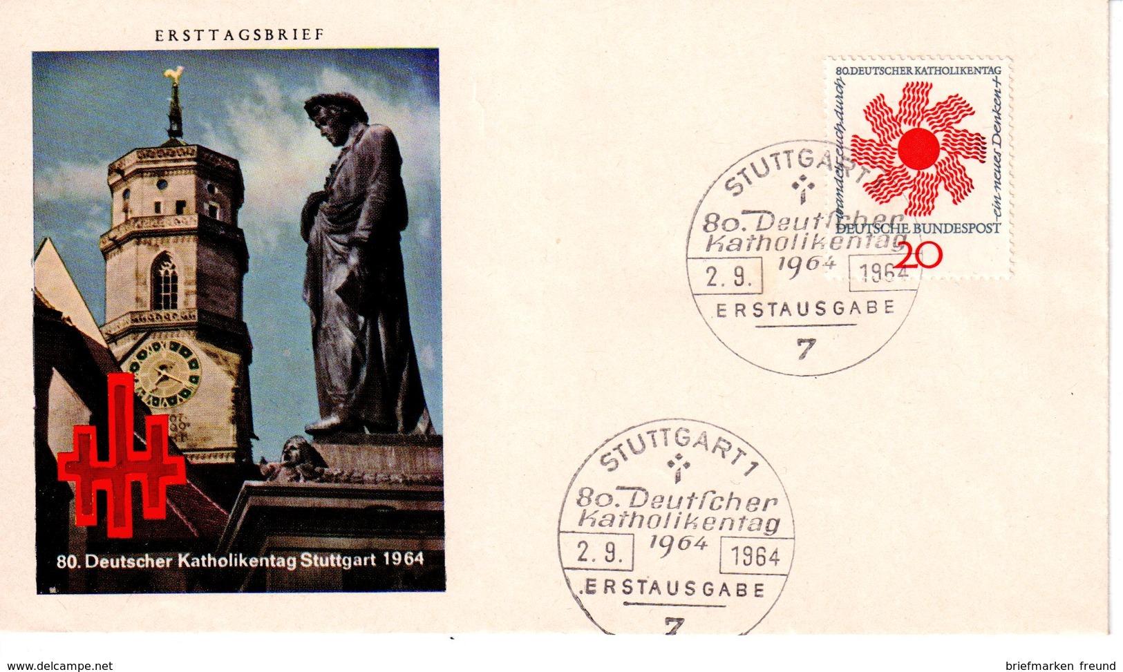 Bund 1964 Mi. 444 Katholikentag, Stuttgart FDC (k0090) - [7] République Fédérale