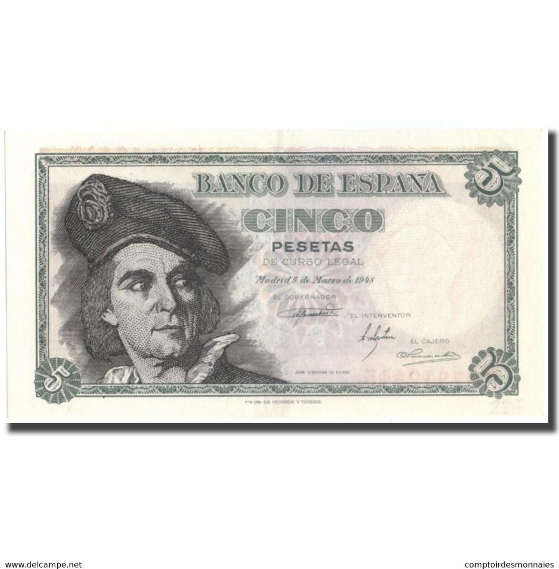 Billet, Espagne, 5 Pesetas, 1948, 1948-03-05, KM:136a, SUP+ - [ 3] 1936-1975 : Régence De Franco