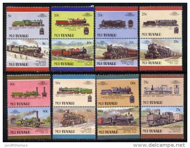 2595 Tuvalu - Nui 1988 Locomotives #4 (Leaders Of The World) Set Of 16 U/m (railways Trains) - Tuvalu