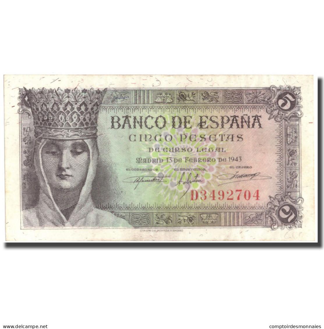 Billet, Espagne, 5 Pesetas, 1943, 1943-02-13, KM:127a, SPL+ - [ 3] 1936-1975 : Régence De Franco