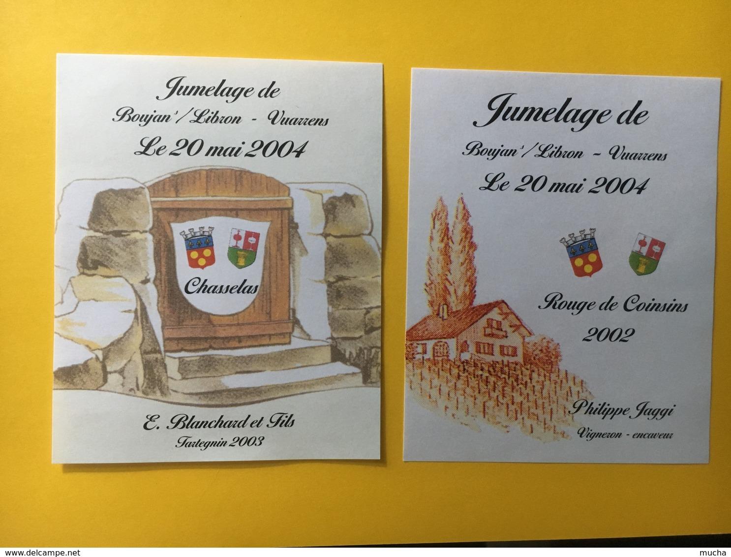 8542 - Jumelage De Boujan/Libron FR Hérault & Vuarrens Suisse 2004 Chasselas Et Rouge De Coinsins 2 étiquettes - Etiquettes