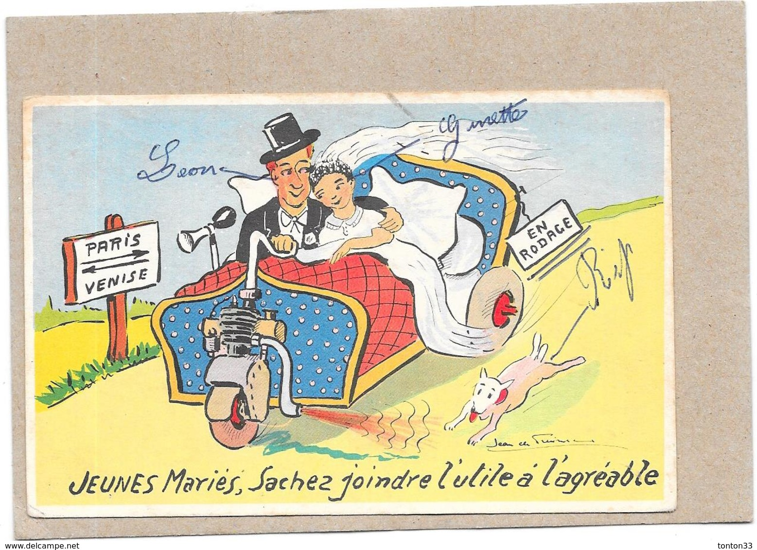 ILLUSTRATEUR  DE PRAISSAC - HUMOUR - JEUNES MARIES..........à L'agréable   - BORD** - - Illustrators & Photographers