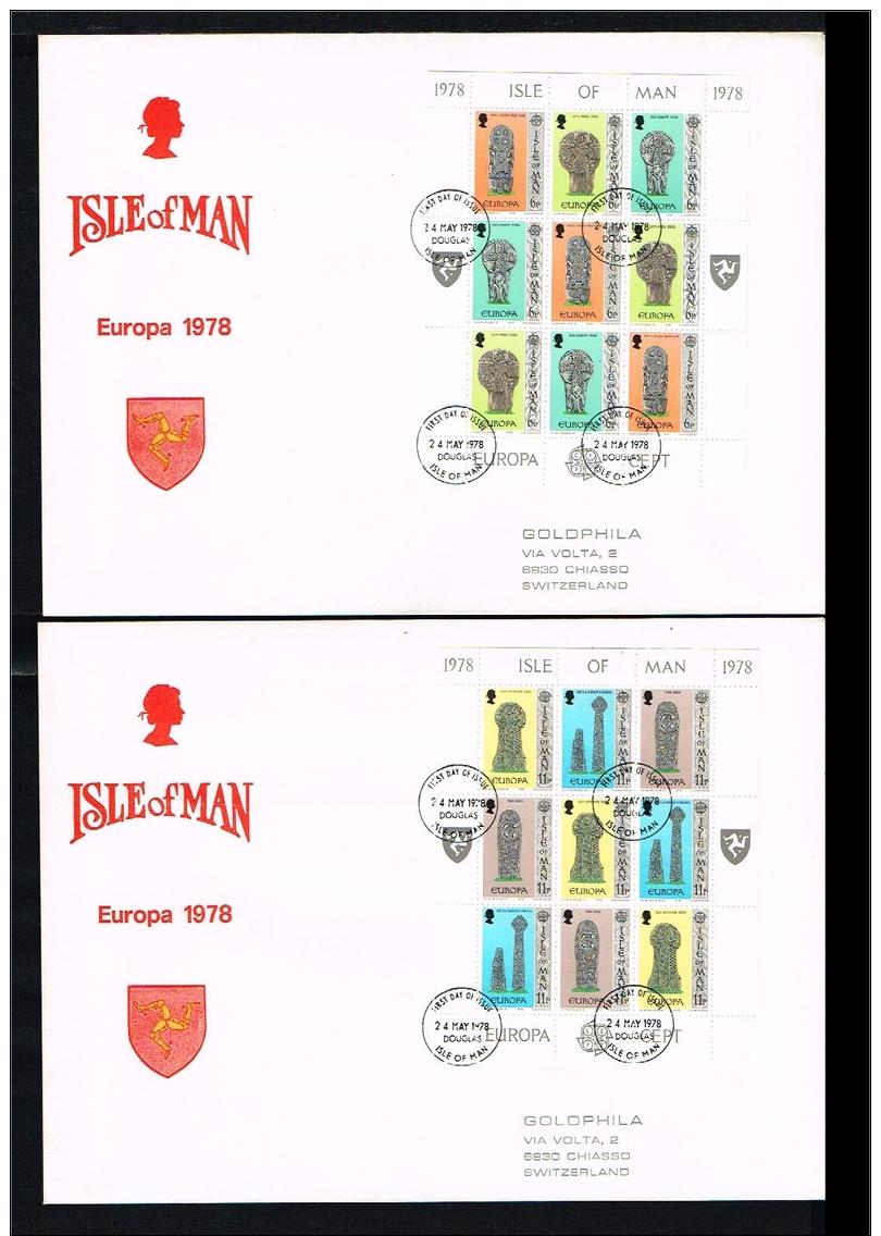 1978 - Great Britain-Isle Of Man FDC Mi.122-127 - 2 Minisheets - Europe CEPT [D18_018] - Man (Ile De)