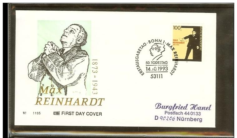 1993 - Deutschland FDC Mi. 1703 - 50. Todestag Von Max Reinhardt - Schauspieler [PB4_117] - FDC: Enveloppes