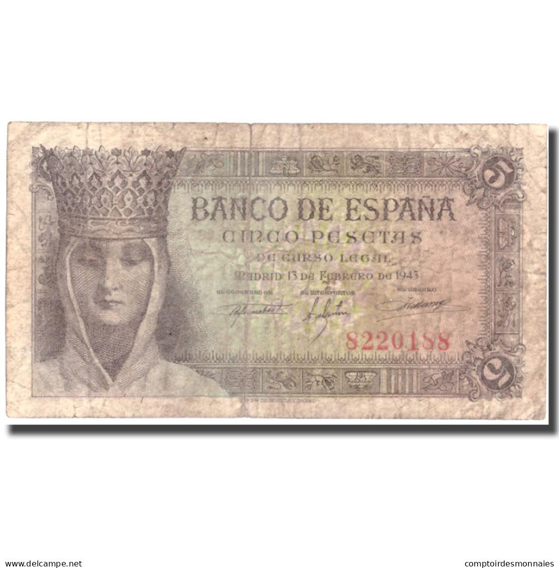 Billet, Espagne, 5 Pesetas, 1943, 1943-02-13, KM:127a, TB+ - [ 3] 1936-1975 : Régence De Franco