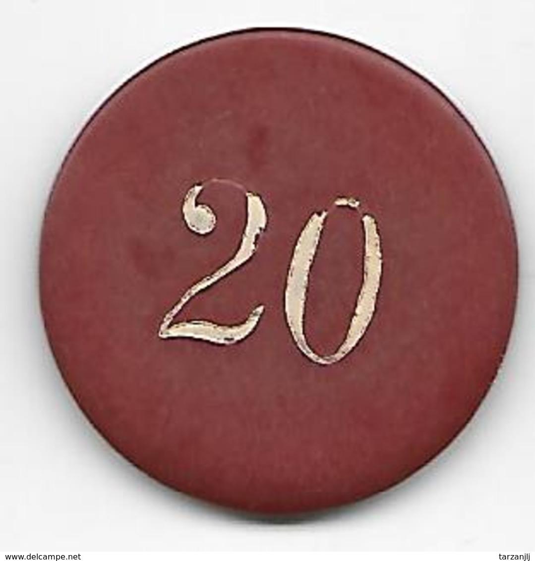 Ancien Jeton Casino Rouge De 20 Francs Marqué CP - Casino