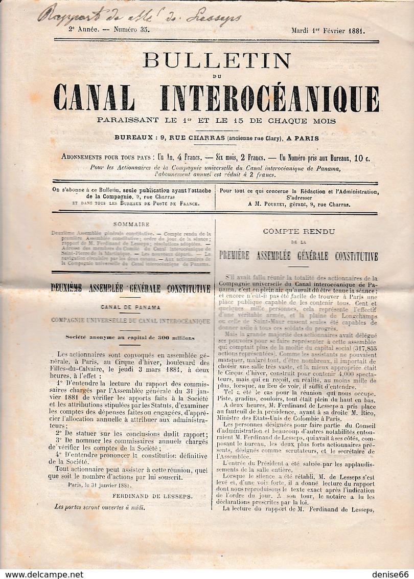 Février 1881 - Bulletin Du CANAL INTEROCÉANIQUE - Rapport De M. De LESSEPS Du 31 Janvier 1881 - CANAL DE PANAMA - Documents Historiques